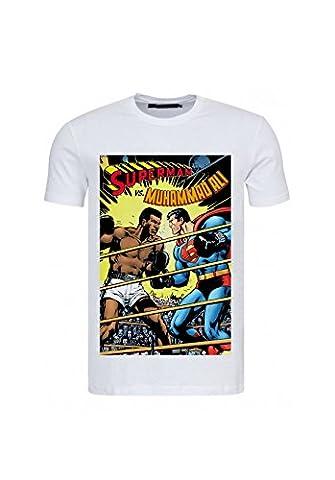 Mohamed Ali - T-shirt Ali VS Superman affiche combat - Blanc - M
