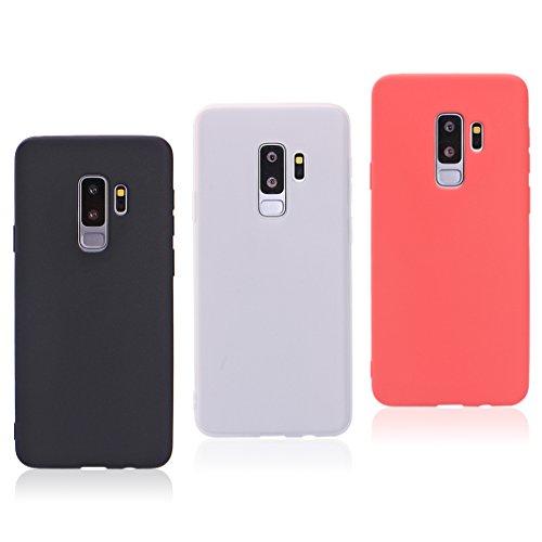 Asnlove 3 Pack Ultra Dünn Tasche TPU Handy Fälle Schutzhülle Handykappen Anti-Scratch Bumper Case mit Pure Motiv Silikon Schutzhülle Für Samsung Galaxy S9 Plus 2018 Smartphone
