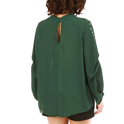 La Modeuse Blouse Ornée de Perles Vert