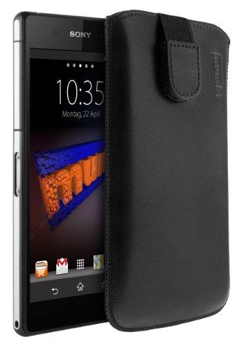 mumbi ECHT Ledertasche für Sony Xperia Z2 Tasche Leder Etui (Lasche mit Rückzugfunktion Ausziehhilfe) -