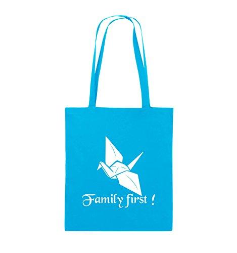 Comedy Bags - Family First Origani - PRISONBREAK - Jutebeutel - lange Henkel - 38x42cm - Farbe: Schwarz / Pink Hellblau / Weiss