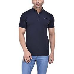 Tinted Men's Solid Slim fit T-Shirt (TJ751CLH-NAVY-M_Navy Blue_Medium)