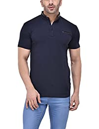 Tinted Men's Cotton Lycra Henley Half Sleeve T-Shirt