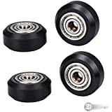3DINNOVATIONS Big Plastic Pulley Wheel with Bearing Idler Pulley Gear for 3D Printer (Black) - Pack of 4 Pieces