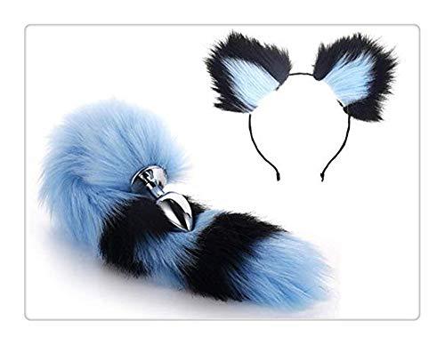 Z-one 1 Metall Fuchs Hund Schwanz Anale Plug Kurz Plüsch Ohr Katze Damen Kopfbedeckung Pop-Up Spiel Halloween Party Spielzeug Liebe Rolle spielen Geschenk Kleidung Set (Schwarz & Blau)