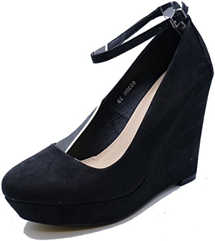 f4ae572717fe HeelzSoHigh Ladies Black Slip-On 3-8 Wedges 4991 Ladies Platform Court  Smart Casual Shoes Pumps Sizes 3-8 B07FYPM39X Parent 7bcc6c3