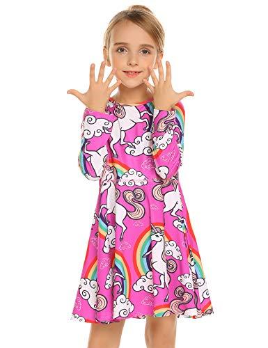 Kleid Mädchen Langarm Einhorn Meerjungfrau Blumen Herbst Karikatur Prinzessin T-Shirt Kleider Freizeitkleidung Gr. 110-150 -