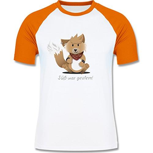 Sonstige Tiere - Süß war gestern - zweifarbiges Baseballshirt für Männer Weiß/Orange
