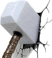 Generic Avengers 3D Fx Deco Led Light Thor Hammer Wall Decoration Mount (Multicolour)