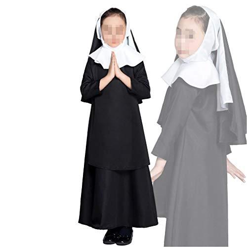 Neue Halloween Kostüm Kinder Rollenspiel Nonne Kostüm Maskerade Mädchen Bühnenkostüme mit Kopftuch Nonnen Set (Color : Black, Size : (Maskerade Kostüm Kinder)