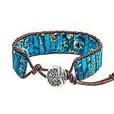 kinnter Armbänder Stück Meersediment-Jaspis Edelsteine Gefärbter Wickelarmband Armreif für Mutter Freundinnen EIN Geschenk Ihre Freundin