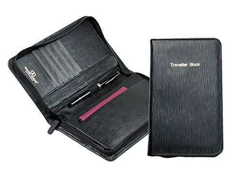 Traveller Book/Reisedokumente Mappe Premium Leder Manhattan schwarz mit Paglia Narbung -