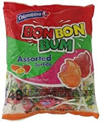 Colombina Bon Bon Bum Assorted 48 Lillipop Pcs Packet, 816g