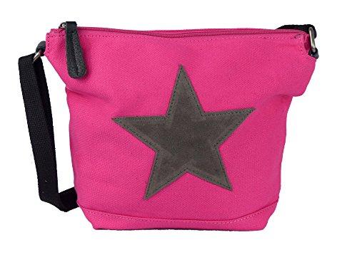 Bunte Umhängetasche Canvas mit aufgenähtem Stern - Maße 26 x 22 x 8 cm - Damen Mädchen Teenager Tasche mit verstellbaren Schulterriemen - viele Farben (fuchsia/grau)