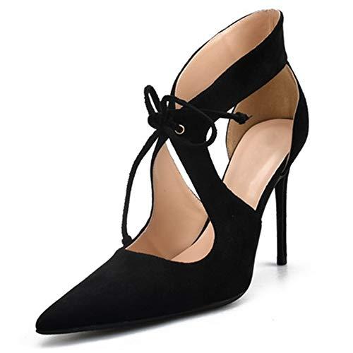 Fenghz-Shoes Schuhe Mode Knöchelriemen Sandalen für Frauen Stöckelschuhe mit hohem Absatz Peep Toe Crisscross Bands Lace Up Peep Toe Schuhe (Color : Schwarz, Size : 41 EU) Ballet Shoes-bänder