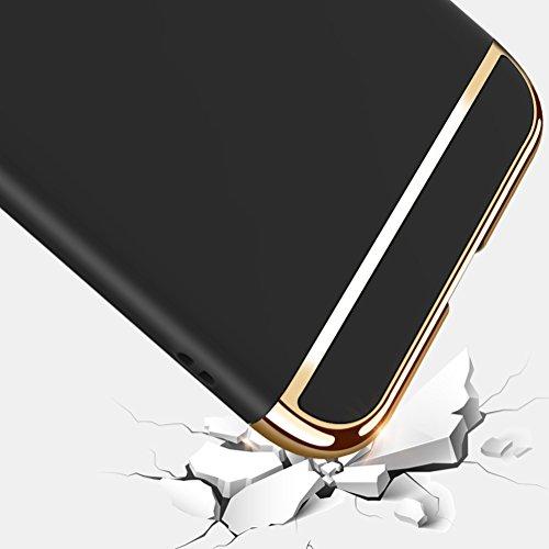 """Apple iPhone 8 Plus (5.5"""") Hülle, MSVII® 3-in-1 Design PC Hülle Schutzhülle Case Und Displayschutzfolie für Apple iPhone 8 Plus (5.5"""") - Rose Gold JY50188 Schwarz"""