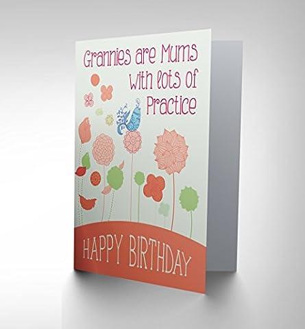 CARD BIRTHDAY HAPPY GRANNY GRAN ORNATE BIRD FLOWER GIFT CP2698