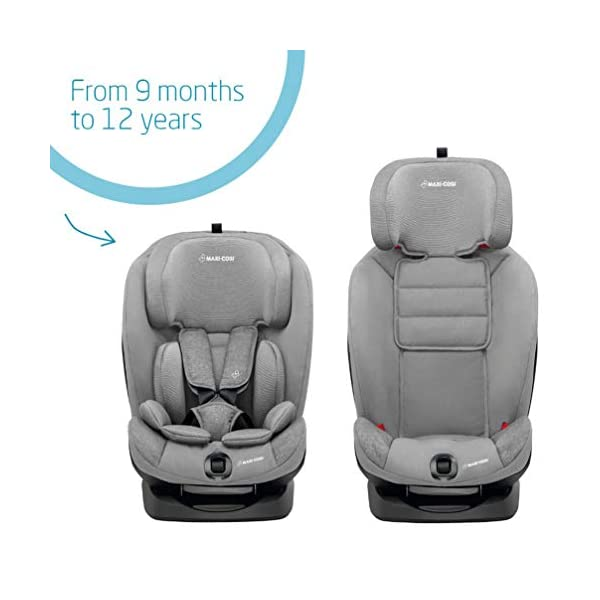 Maxi-Cosi Titan Toddler/Child Car Seat Group 1-2-3, Convertible, Reclining ISOFIX Car Seat, 9 m - 12 y, Nomad Grey Maxi-Cosi A multi-stage car seat suitable for babies, toddlers and children from 9 months to 12 years (approx. 9 - 36 kg) Easy adjustable and smooth headrest of this reclining car seat grows along in 11 steps to provide comfort for your little one Solid ISOFIX installation with top tether offers high stability for this convertible car seat 3