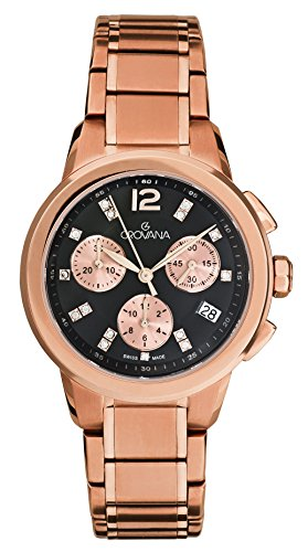 Grovana Unisex Quartz Watch with Black Dial Chronograph Display and Stainless Steel Rose Gold Plated Bracelet 5094.9267