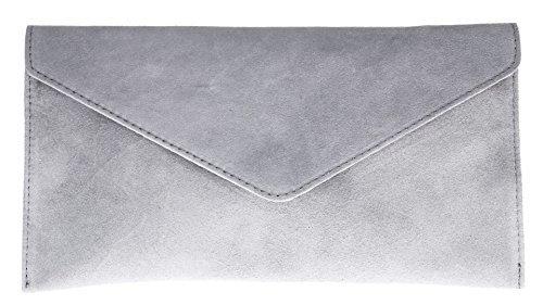 Girly HandBags V108_lightgrey Genuine Suede Leather Envelope Clutch Bag/Wrist Bag, Light Grey
