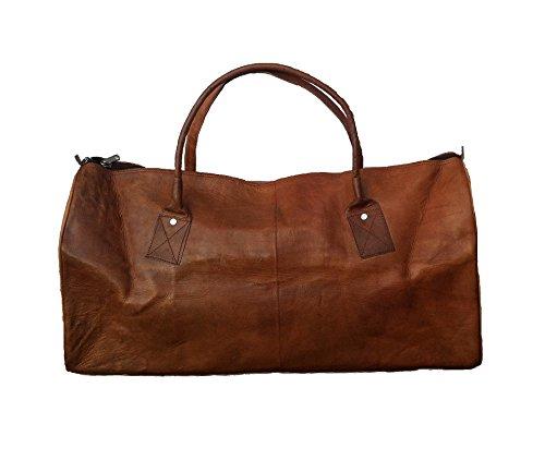 Vintage Design Weekender Tasche aus Leder. Reisetasche, Bordtasche und Sporttasche für Herren/ Damen in braun (Leder-weekender-tasche)