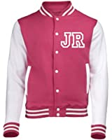 KIDS VARSITY JACKET WITH FRONT INITIAL PERSONALISATION (Hot Pink / White) NEW PREMIUM Unisex American Style Letterman College Baseball Custom Top Boy Girl Children Child Gift Present AWD - By 123t