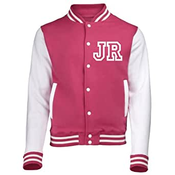 VARSITY JACKET WITH FRONT INITIAL PERSONALISATION ( EXTRA SMALL - Hot Pink / White ) NEW PREMIUM Unisex American Style Letterman College Baseball Custom Top Mens Womens Ladies Gift Present Quality AWD Soulstar Omega Bomber By Fonfella