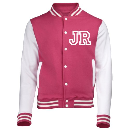 it Front Initiale Individualisierung (Hot Pink/Weiß) Neue Premium Unisex American Letterman Style College Baseball Custom Top Boy Girl Kinder Kind Geschenk Present AWD – von '123T Mugs Gr. 3 Jahre, Hot Pink / Weiß (Letterman Jacken Für Kinder)