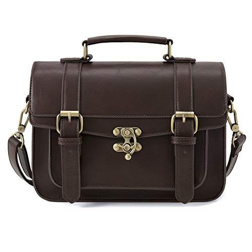 ECOSUSI Damen Kleine Umhängetasche Vintage Handtasche Schultertasche Crossbody Bag Kaffee