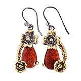 Pendientes de gema de jaspe rojo natural, rodio negro, chapado en oro,...