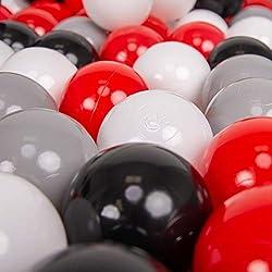 KiddyMoon 200 ∅ 7Cm Balles Colorées Plastique pour Piscine Enfant Bébé Fabriqué en EU, Gris/Blanc/Rouge/Noir