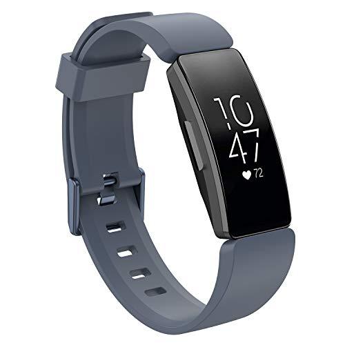 WAOTIER für Fitbit Inspire HR Armband Größe S Silikon Armband Kompatibel für Fitbit Inspire Armband und für Fitbit Inspire HR Weiche Silikon Mehrfarbig Sportuhr Armbänder für Männer Damen (Grau) (Zubehör Fitbit Puls)