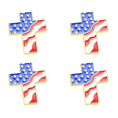 amerikanische Flagge Kreuz geformt Anstecknadeln Unabhängigkeitstag patriotischen 4. Juli Schmuck Partei begünstigt Geschenke ()