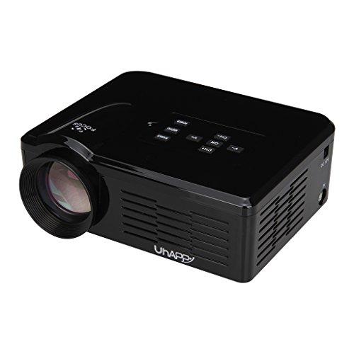 Uhappy BL 35 Mini Projecteur Vidéoprojecteur Multimédia LED LCD Résolution 640 * 480 Théâtre Portable Home Cinéma Jeux Vidéo USB/SD/VGA/HDMI/AV/Micro USB/ATV (Noir)