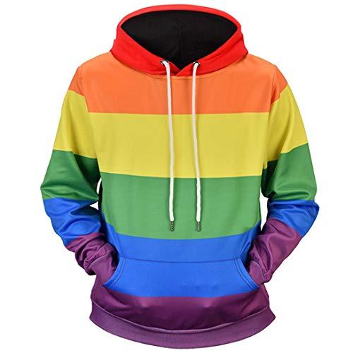766a193cddb5 Mens Tops Blouse Shirts Moonuy Men Autumn Winter Mens 6D Printed Rainbow  Pullover Long Sleeve Hooded