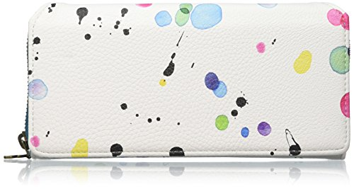 Desigual Mone_Maria New Splatter, Portafogli Donna, Bianco (1000), 3x10x20 cm (B x H x T)
