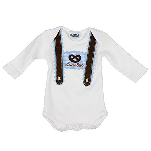 Baby Body langarm hellblau Lausbub und Breze mit Hosenträger Applikation in verschiedenen Größen - süßer Trachtenlook Größe 62