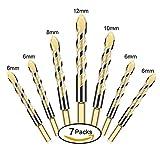 7 Stück Fliesenbohrer Glasbohrer Set, Triangel Legierung Bohrer Sets (6/6/6//6/8/10/12) für Fliesen, Holz, Porzellan, Keramik, Glas, Spiegel und Mauerwerk, Fliesenschneider Set (Gold)