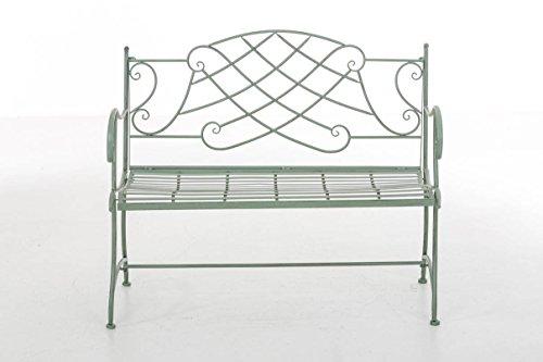 CLP Nostalige Metall-Gartenbank SELENA im Landhausstil, aus lackiertem Eisen, 109 x 43 cm – aus bis zu 6 Farben wählen Antik Grün - 2