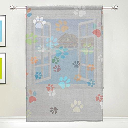 COOSUN farbigen Pfoten Sheer Vorhang Einsätze Tüll Polyester Voile Fenster Behandlung Panel Vorhänge für Schlafzimmer Wohnzimmer Home Decor, 139,7x 198,1cm, 1Stück, Polyester, Multi, 55x78x1(in) (Paw Patrol Vorhänge)