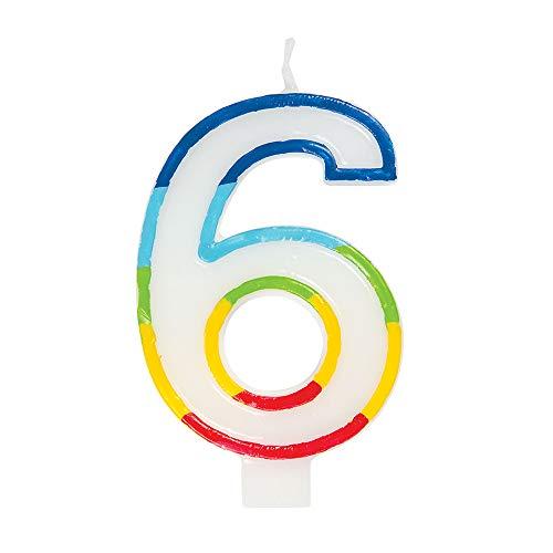 Unique Party 19946 - Vela de cumpleaños con borde arcoíris número 6