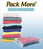 #8: Pack More Space Saver Vacuum Seal Storage Pack Bags - Works With Any Vacuum Cleaner. Compression Bags For Travel Clothes, Linens, Duvets, Blankets, Bedding Pillows, Home Clothes Storage | Double-Zip Seal And Triple Seal Turbo-Valve | For 80% More Compression! With Free Hand-Pump For Travel