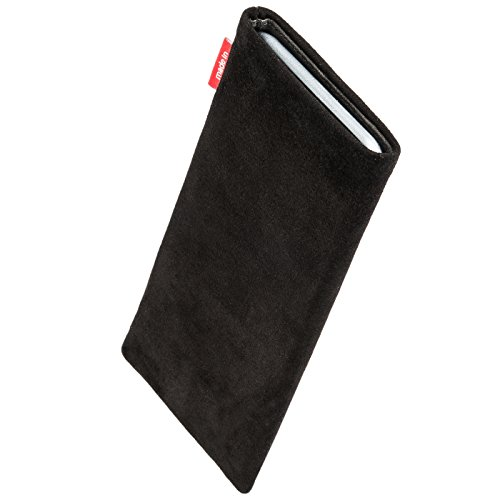 fitBAG Beat Grau Handytasche Tasche aus Echtleder Nappa mit Microfaserinnenfutter für Apple iPhone 1G Folk Schwarz