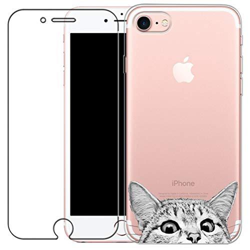 iPhone 7 Hülle, iPhone 8 Hülle, Kreative Ultradünne Lustig Katze Muster Durchsichtig Silikon Cover TPU Gel Bumper Schutzhülle Weich Schutz Handyhülle Tasche Etui für iPhone 7 / 8