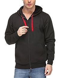 Scott Men's Premium Rich Cotton Pullover Hoodie Sweatshirt with Zip - Black
