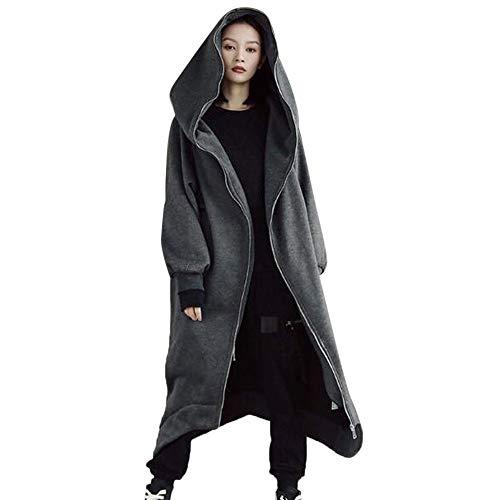 OIKAY Hooded Zipper Pullover Tops Frauen Solide Sweatshirt Langarm Mäntel Bluse Shirt Jacke(Tief grau,EU-48/4XL) (Plus Größe Winter Mantel Wolle)