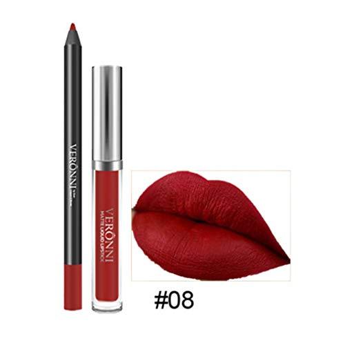 Rouge à lèvres, Tefamore Longue durée de Rouge à lèvres imperméable à l'eau Mat Liquide Gloss Lip Liner Set de cosmétiques (8#)