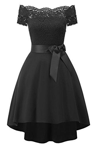 Misshow Damen Abschlusskleid Knielang Prinzessin Ballkleid Abendkleid Spitze Floral Lace Cocktailkleid