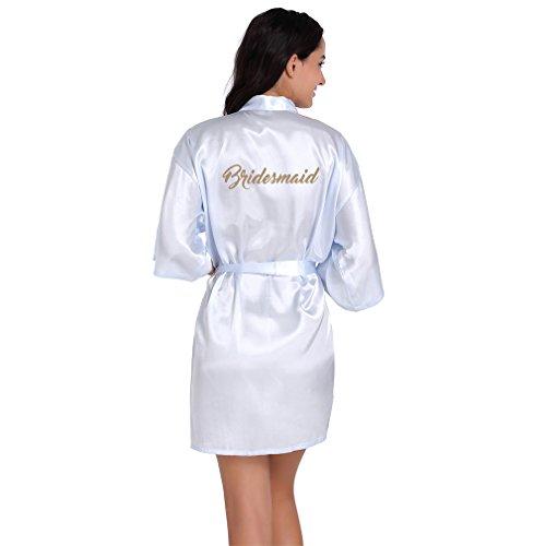 BOYANN Brautjungfer Morgenmäntel Kimono Satin Damen Bademäntel Nachtwäsche Erotisch, Hellblau S