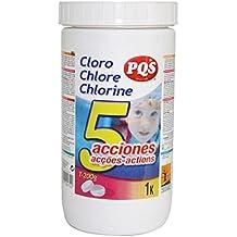 17022-Cloro 5 acciones PQS para piscina. Bote 1 kg